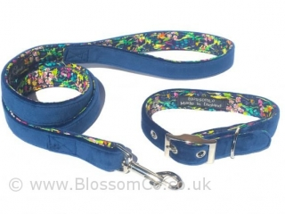 Blue velvet matching dog collar and lead set by BlossomCo