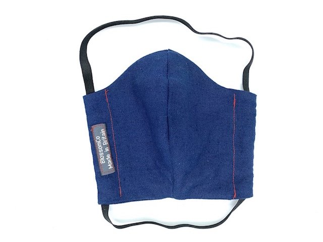 3 Layer Face Covering in Blue Fabric