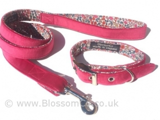 pink velvet matching dog collar and lead set