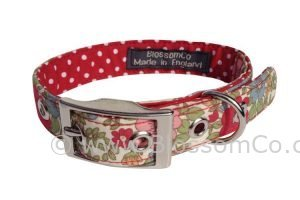 pretty floral handmade dog collar with polka dot lining