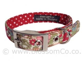 pretty floral handmade dog collar with polka dot lining