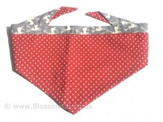 dark red dog bandana with large white polka dot design