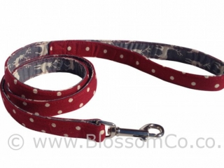 Angus is a rich red linen look cotton dog lead lined with Highland Stags