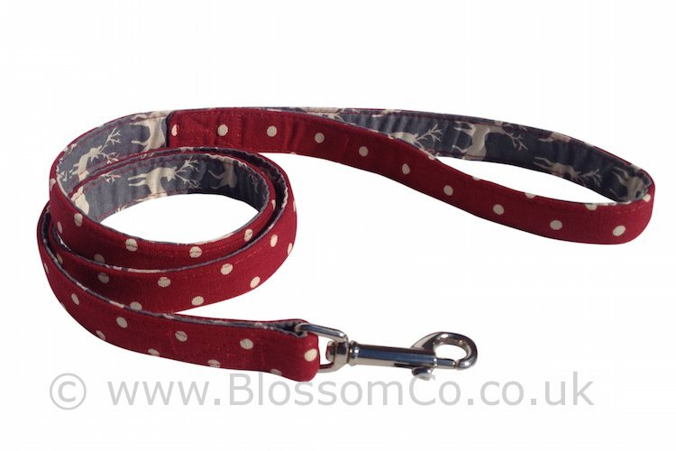 Angus - Rich red Linen look cotton dog lead lined with Highland Stags