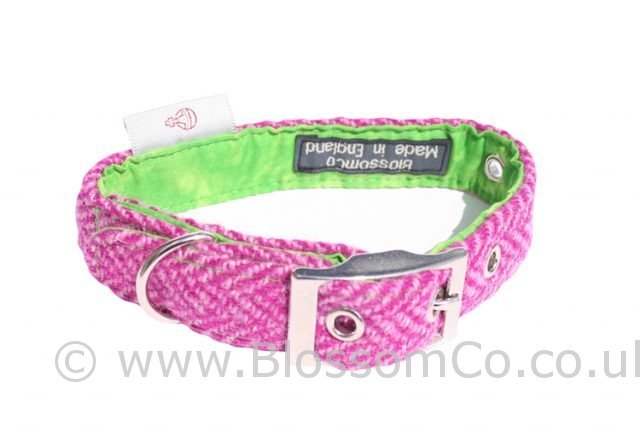 Benbecula Pink Harris Tweed Dog Collar by BlossomCo