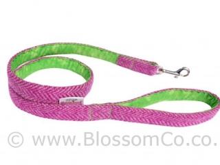 Benbecula Pink Harris Tweed Dog Lead by BlossomCo