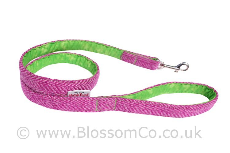 Benbecula Pink Harris Tweed Dog Lead by BlossomCo