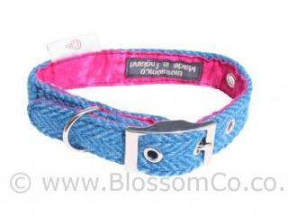 Berneray Blue Harris Tweed Dog Collar by BlossomCo