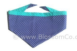 two tone blue and turquoise dog bandana with white polka dot design