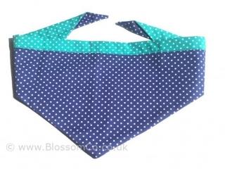 two tone blue and turquoise dog bandana with white polka dot design
