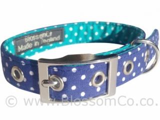handmade two tone blue dog collar with polka dots