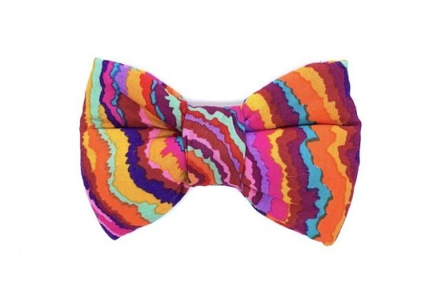 bright stripes design bowtie for dogs