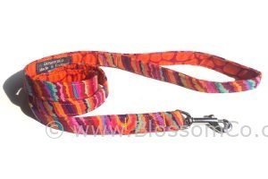 colourful handmade dog lead in jazzy colours