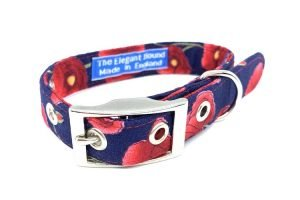 poppy design dog collar handmade in england