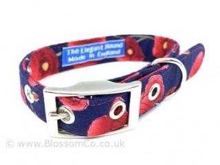 poppy design dog collar handmade in england