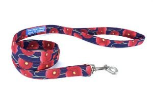 handmade dog lead with poppy design