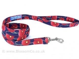 handmade dog lead with poppy design