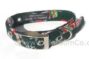 Christmas theme dog collar. Green with christmas stockings and snowflakes
