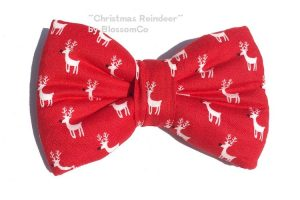 Christmas Reindeer Pattern Bow Tie for dogs