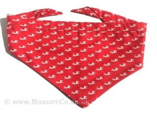 Dog bandana red with white reindeer