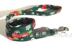Christmas theme dog lead with christmas stockings and snowflakes
