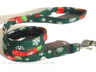 Christmas themed dog lead with stockings and snowflakes