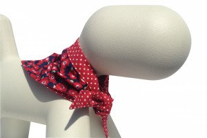 beautiful poppy and red polka dot design dog bandanas