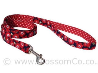 Elizabeth is a gorgeous red poppy and floral dog lead