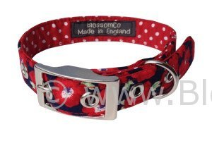 handmade red dog collar with beautiful poppy design