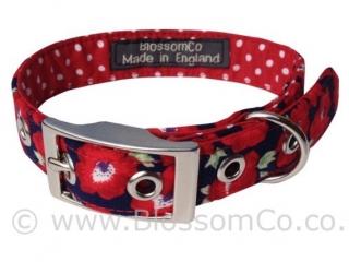 handmade red dog collar with beautiful poppy design