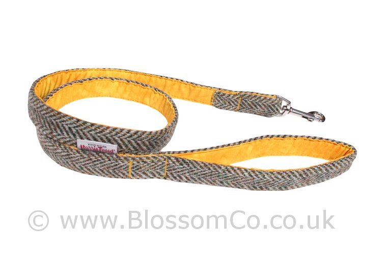 Eriskay Yellow Harris Tweed Dog Lead by BlossomCo