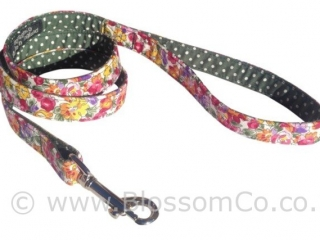 Eva is a bright floral design dog lead handmade in england