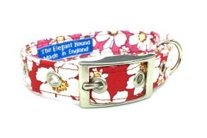 red and pink floral pattern fabric dog collar made in the UK