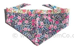 pretty two tone floral dog bandana handmde in the united kingdom