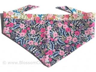 pretty two tone floral dog bandana handmde in the united kingdom