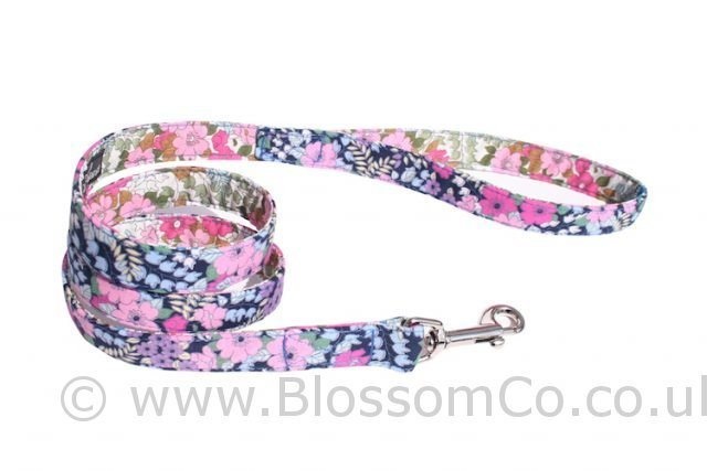 Flora by BlossomCo is a very pretty floral design handmade dog lead