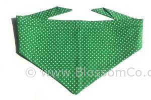 green dog bandana with white polka dot design