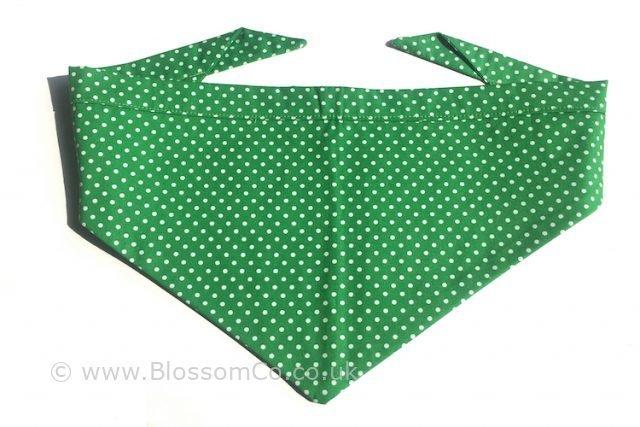 green dog bandana with white polka dot design