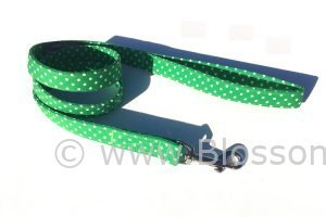 bright green polka dot dog lead