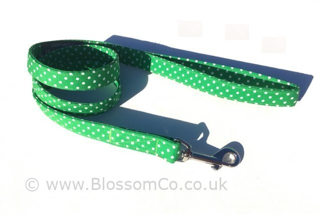 BlossomCo's George design is a bright green polka dot dog lead