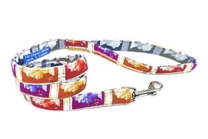 handmade dog lead in postage stamp theme design