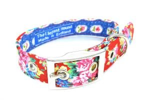 red floral pattern fabric dog collar