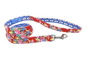 red floral handmade dog lead