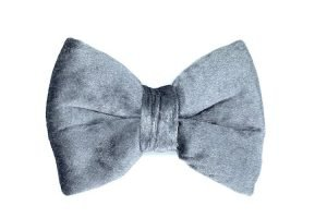 handmade luxury velvet dog bowtie in silver