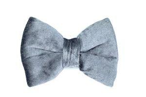 handmade luxury velvet dog bowtie in silver