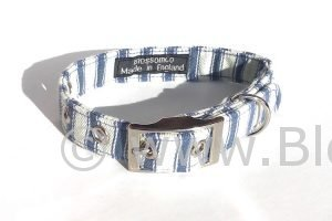 blue and white stripe ticking soft dog collar