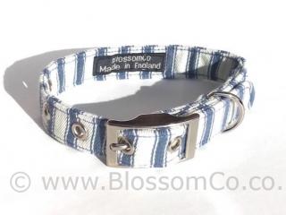 blue and white stripe ticking soft dog collar