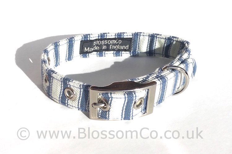 Huntingdon - Blue and White Stripes Dog Collar