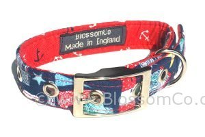 coastal theme dog collar with lighthouses starfish and shells design