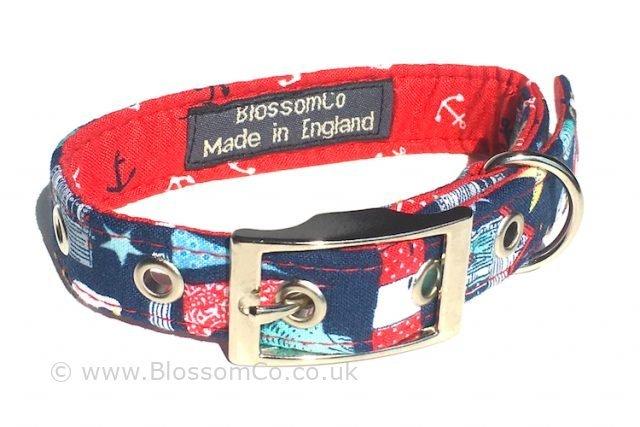 coastal theme dog collar with lighthouses starfish and shells design